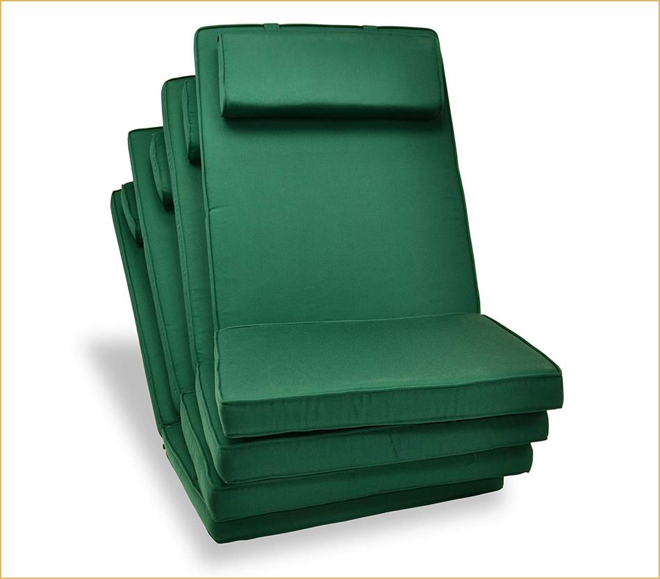 4er Set dunkelgrüne Stuhlpolster
