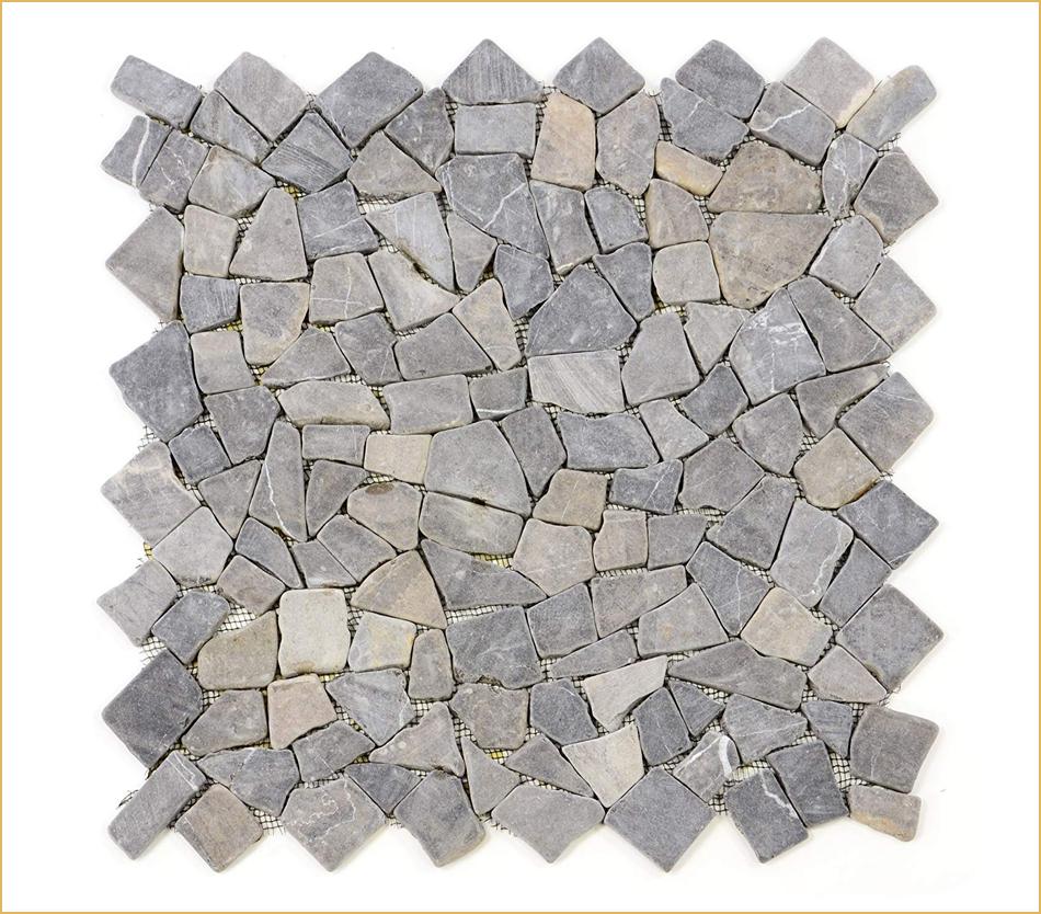 Graues Marmor-Bruchsteinmosaik ohne Ansatz