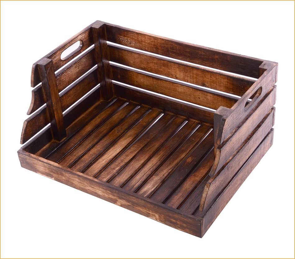 Holz- und Regalkiste mit einseitigem Eingriff