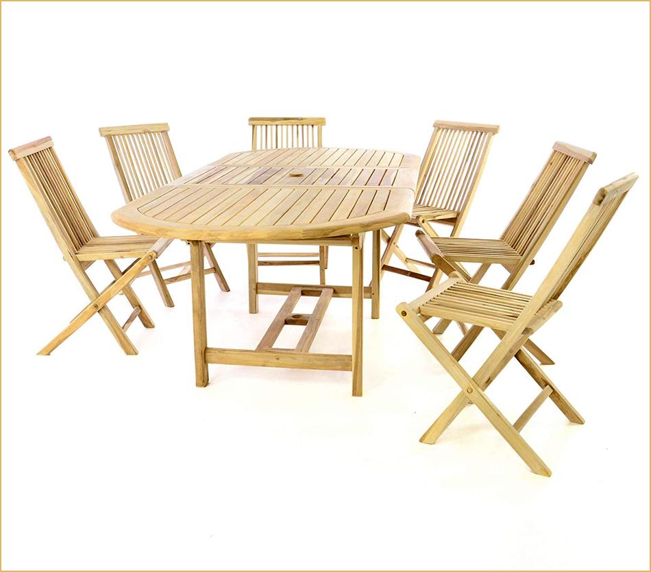 Esstisch und Stühle aus Teak