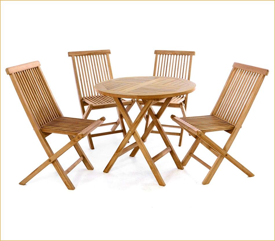 Teak-Tisch mit vier Stühlen