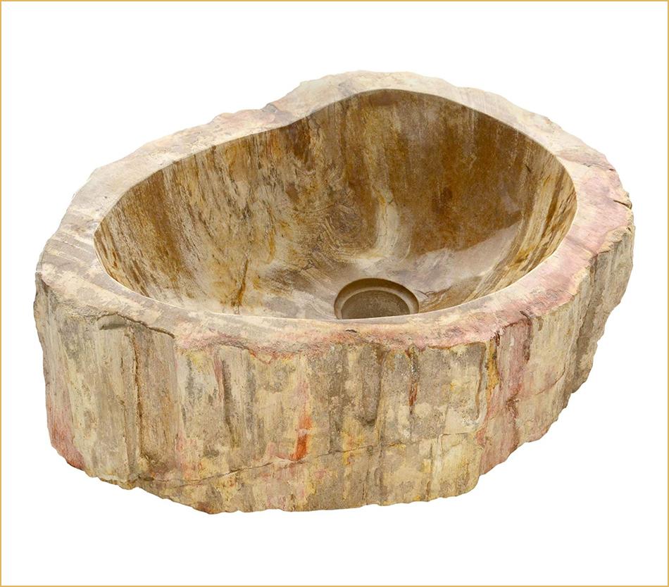 Fossil-Waschbecken aus versteinertem Holz